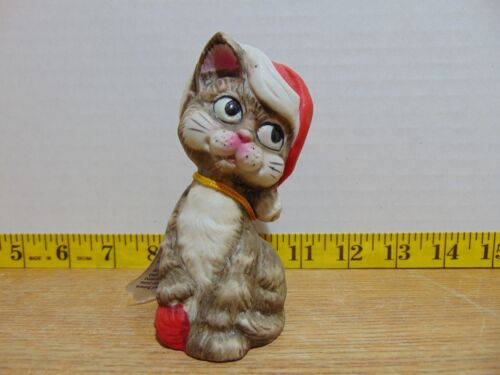 Jasco Critter Bells Santa Hat Cat Handcrafted In Taiwan With Tag 1980