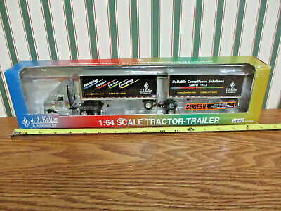 J.J. Keller International Semi With Pup Trailers By DCP 1/64th Scale