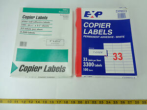 "Lot of Copier Labels Office Essentials 1"" x 2-3/4"" & EXP 1"" x 2-13/16"" T"