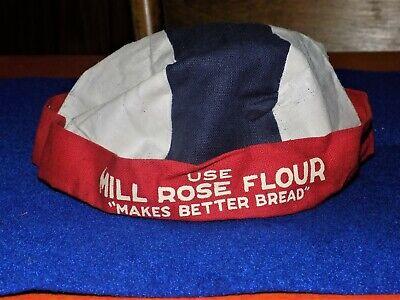 Vintage, MILL ROSE FLOUR, Cloth Advertising Hat, looks unused