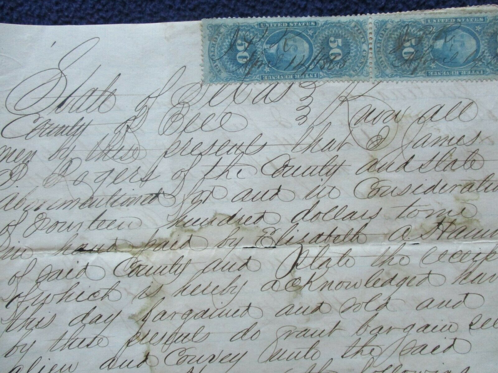 1868 Belton,Texas James Leach,James Rogers Signed Deed,NICE BLUE REV. Stamps  - $49.99