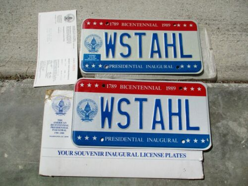 District of Columbia 1989 license plate pair  #  WSTAHL + registration