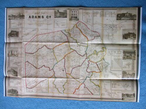 #  Civil War Map - Adams County, Pennsylvania, 1858, Gettysburg & Vicinity
