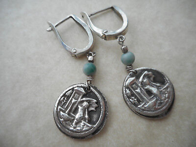 Sterling Silver 925 999 Artisan Dangle Earrings  T655, used for sale  Salisbury