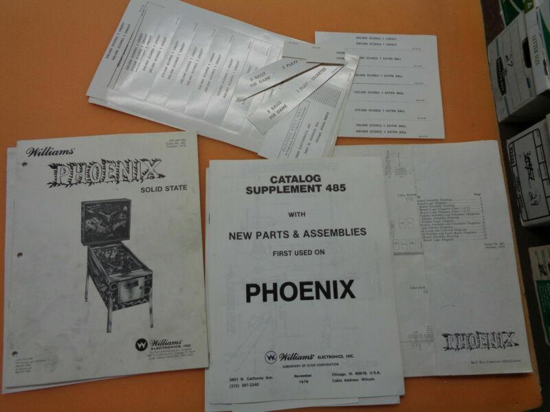 WILLIAMS PINBALL PHOENIX SET   ORIGINAL  arcade game manual