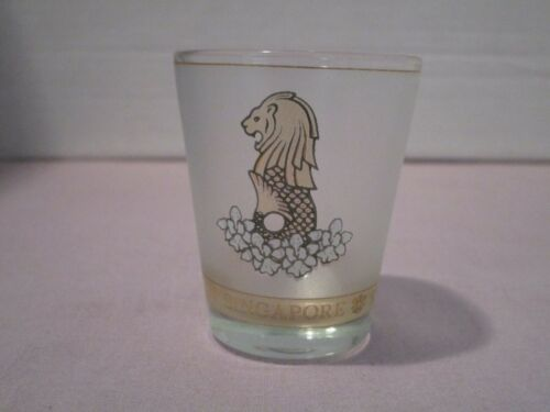 1 Souvenir Singapore frosted Shot Glass with gold colored Merlion  FREE SH