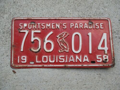 Louisiana 1958 license plate #  756 014