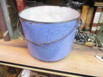LARGE CAST IRON CAULDRON ANTIQUE KETTLE POT EARLY 1900'S ORIGINAL PORCELAIN  (Large Cauldron)