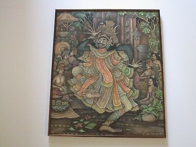 FOLK UBUD  PAINTING MASTERFUL FINEST BALI LANDSCAPE TROPICAL DETAILED 26 INCH, used for sale  Shipping to Canada