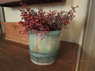 Primitive Antique Staved and Banded Old Green Paint Bucket Grungy and Rustic