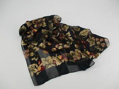Vintage Scarf Styles -1920s to 1960s Vintage Echo Silk Scarf Black Floral Oblong Rectangular  $9.99 AT vintagedancer.com