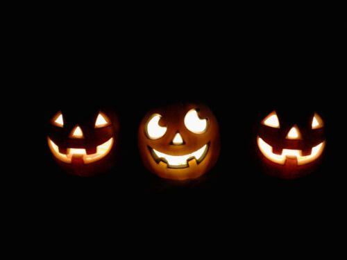 "3 Lighted HALLOWEEN Pumpkins, Jack O Lanterns 5"" Tall x 4.5"" x 4.5"" 2 Orange NWT"