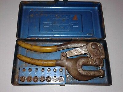 Vintage Roper Whitney No. 5 Jr. Hand Punch With Case And Bits Made In Usa