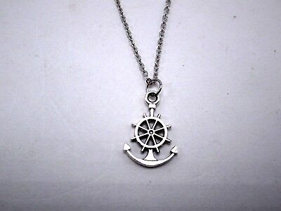 Ships Wheel Anchor Charm Necklace Pendant Stainless Steel Jewelry With Chain New