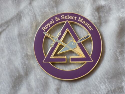 "Masonic 3"" Car Emblem York Rites Royal Select Master Trowel Sword Metal NEW!"