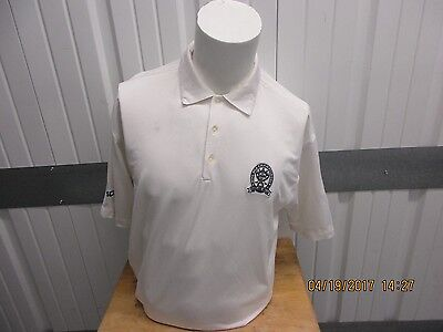 NIKE GOLF FIT-DRY WHITE POLO LARGE SHIRT PRE-OWNED 90TH PGA CHAMPIONSHIP