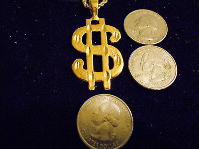 bling gold plated casino dollar sign BANK MONEY FASHION charm pendant necklace