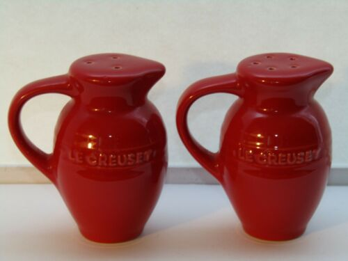 Le Creuset Stoneware Cheery Red Jug/Pitcher Salt & Pepper Shakers