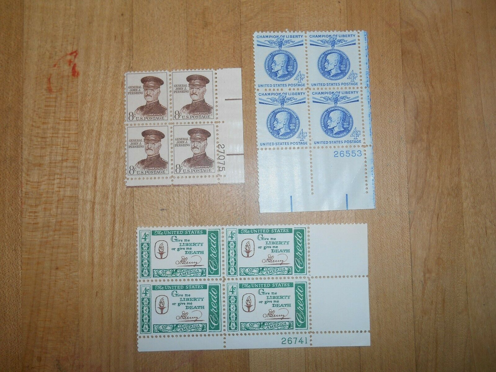 U.S. Scott 1144, U.S. Scott 1147, U.S. Sct 1042A, 1960 Plate Blk. Of 4 Stamps - $3.00