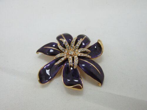St. John Gold Tone Purple Enamel Crystal Pave Floral Brooch Pin