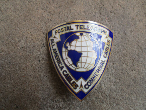 1920 Post Office Postal Telegraph All American Cables Hat Cap Employee Badge Pin