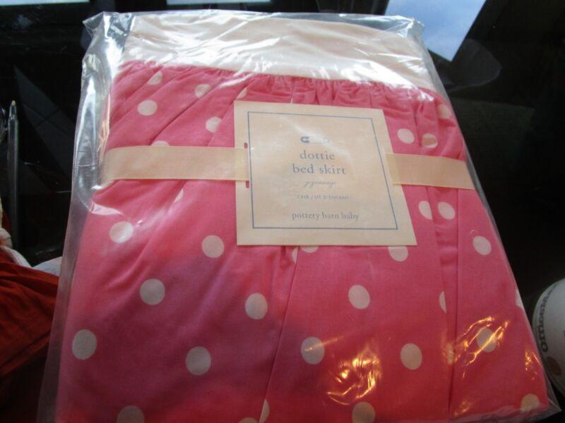 Pottery Barn Kids Dottie pink  crib  bedskirt bed skirt  New