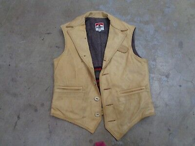Rare Vtg Marlboro Vest Leather 38 Men 70S 80S Usa Western Hunting Cowboy Ranch