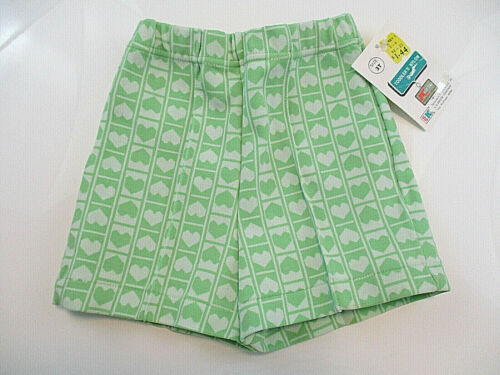 Vtg SHORTS Toddler Girls Nylon Sz 3T Green White Hearts Kresge Kmart Taiwain NWT