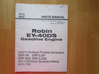 Robin Ey-40ds Gasoline Engine Parts Manual Used In Multiquip Portable Generators