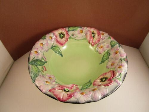 Vintage Carlton Ware England Art Pottery Majolica Raised Flowers Bowl
