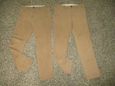 MENS TAN HOLLISTER SKINNY CHINO PANTS LOT sz 30x32 hco epic flex khakis