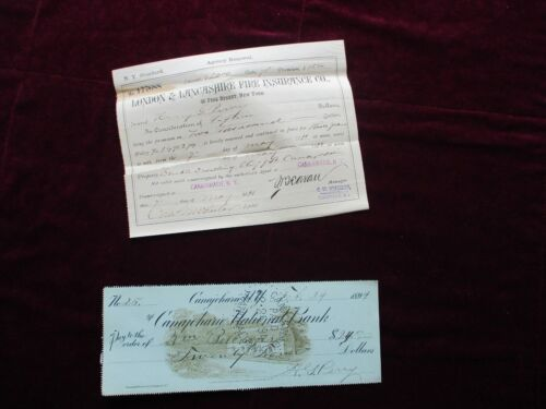 1890s H.G. Perry (Music Store) Canajoharie,N.Y., signed Check,Insurance Document