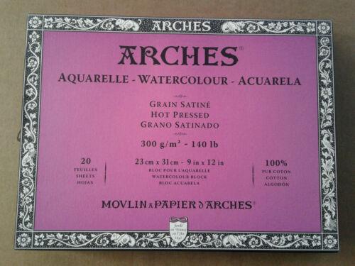 "Arches Watercolor Paper Pad, 140 pound, Hot Pressed  9""x12"" 100% Cotton"