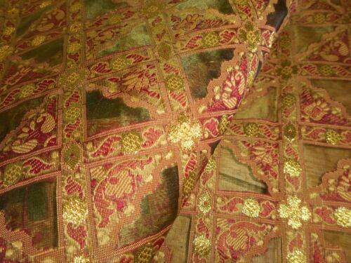 Stunning Retro Vintage Silk Organdy Organza Jacquard Woven Fabric~Olive Red Gold