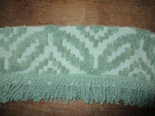 "3 yds ~   Vintage  7"" fluffy green  Chenille Bedspread fringe piece"