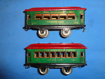 IVES #551 Chair Car & #552 Parlor Car in Green w/Red Roofs
