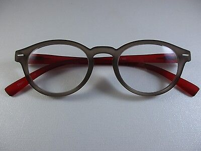 WITTY in ROUND Taupe & Pomegranate Soft Matte Spr Temple Reading Glasses +2.50