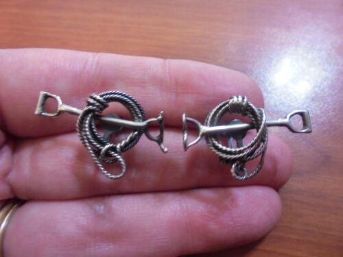 Vtg Sterling silver cowboy lasso rope branding iron screw back earrings 5.7 gram
