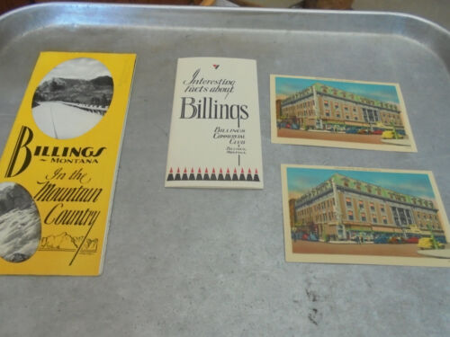 Vintage 1938 Billings Montana Brochures, Decal and postcards