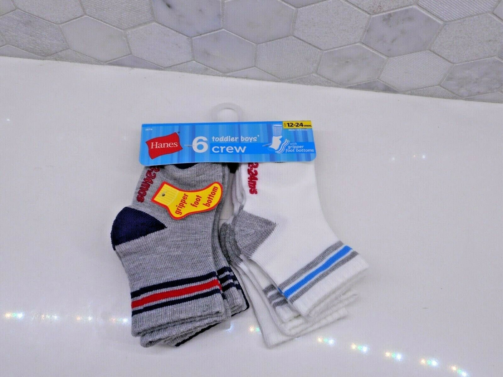 Hanes Toddler Boys 6-Pack Crew Socks, Assorted,12-24 Months