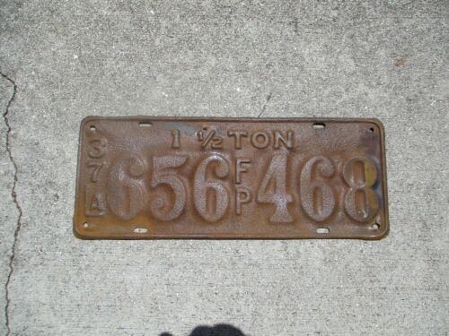 Louisiana 1937 1 and 1/2 Ton FP license plate #  656 468
