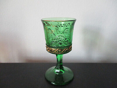 Circa 1910 Souvenir EAPG Colorado Pattern Green Wine Glass Butternut Wisconsin *