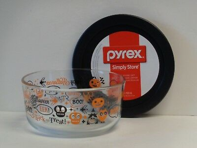 Pyrex Halloween Trick or Treat 1-Qt Glass Storage Bowl with Cover NEW Pumpkins](Glass Halloween Bowl)