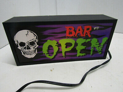 SPOOKY BAR OPEN Light up Bar Sign Skull halloween Man Cave decoration BAR WARE