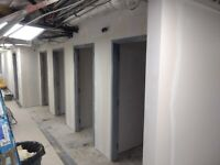 Steel frame, drywall, insulation, taping and Tbar ceiling