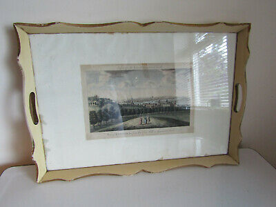 Antique Wooden Glassed Topped Tray Engraving Of London Original Painted Finish