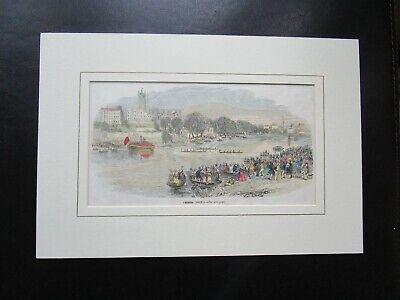 1843  ANTIQUE COLOUR ENGRAVING CHESTER REGATTA ROWING