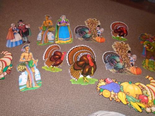 13 Vintage Beistle Thanksgiving Die Cut Decorations-Pilgrims-Turkeys/Cornucopia