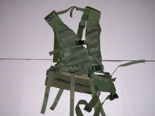 Molle Tactical Utility LBV Vest w/ Woodland Waist Belt Load Bearing Harness U.S