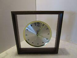 Mid-Century Modern Wall Clock Battery Operated Wood frame Plexiglas 12 square